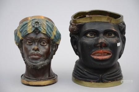 Two head in terra cota, Napoleon III (*) (18cm)