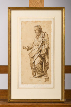 J.B. Greuze (attributed to): sketch 'apostle' (*) (14x30cm)