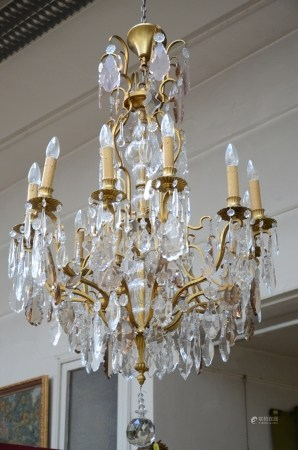 Large decorative bronze chandelier with crystal plaques (68x130cm)