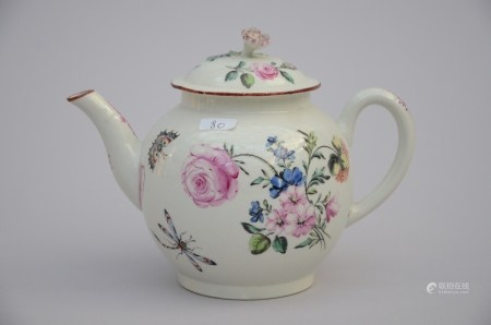 A teapot in p'te tendre 'floral decor' (14cm)