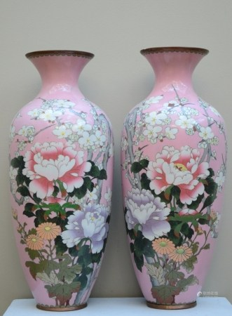 A pair of Japanese vases in cloisonnÈ 'flowers' (*) (45cm)