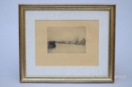 James Ensor: engraving 'the Ostend pier' (15x21cm)