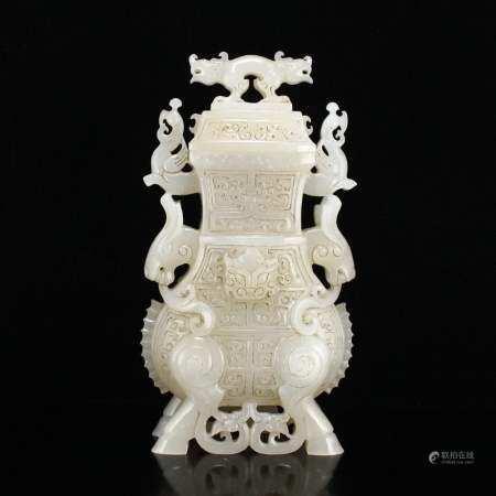 Vintage Chinese Hetian Jade Lucky Animal Vase