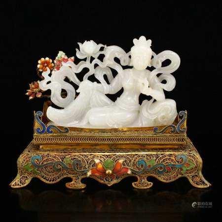Qing Dy Hetian Jade Lotus Flower Kwan-yin Statue
