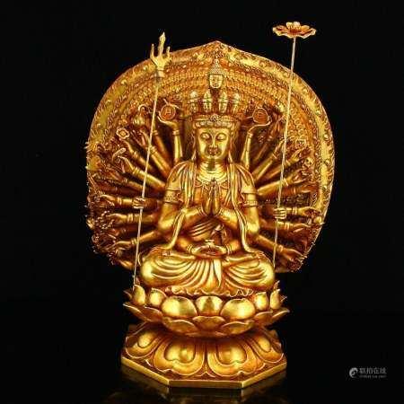 Gilt Gold Red Copper Thousands Hands Kwan-yin Statue