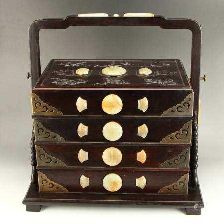 Excellent Qing Dy Zitan Wood Inlay Hetian Jade Food Box