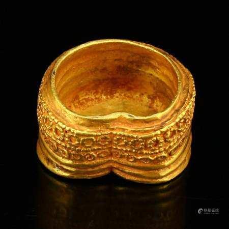Vintage Chinese Horse's Hoof Shape Gold Bullion