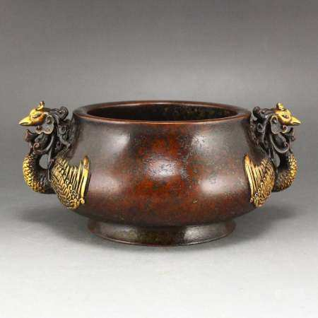 Chinese Gilt Gold Red Copper Double Ears Incense Burner