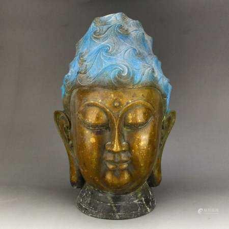 Vintage Chinese Gilt Gold Bronze Buddha Head Statue