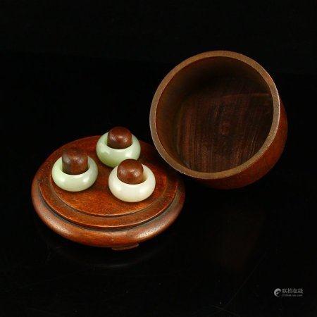 Three Superb Chinese Hetian Jade Rings w Zitan Wood Box