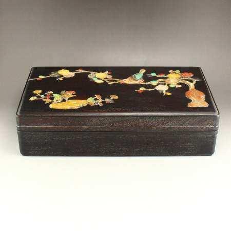 Vintage Zitan Wood Inlay Shells & Gems Jewelry Box