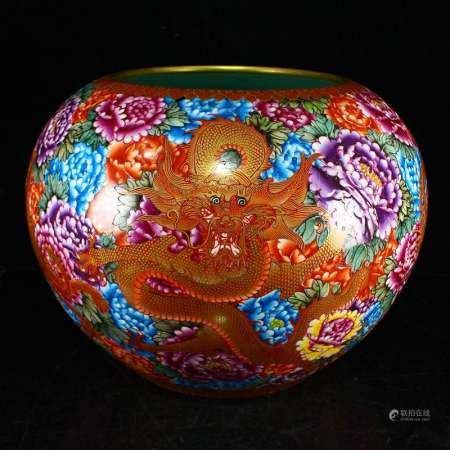 Superb Gilt Gold Famille Rose Porcelain Fishbowl