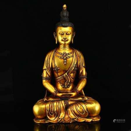 12 Kg Superb Gilt Gold Red Copper Boddhisattva Statue