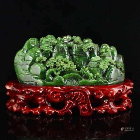 Superb Green Hetian Jade Statue - Figures & Pine Tree