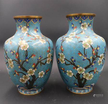 Chinese Pair Of Qing Dynasty Cloisonné Enamel Vases