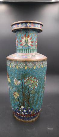 Chinese Qing Dynasty Cloisonné Enamel Flower Pattern Wooden