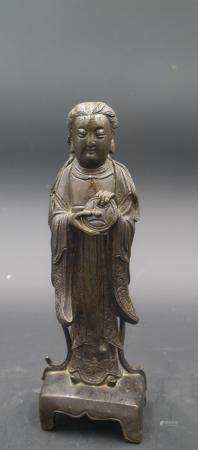 Chinese Ming Dynasty Wuji'S Old Mor Bronze Statue