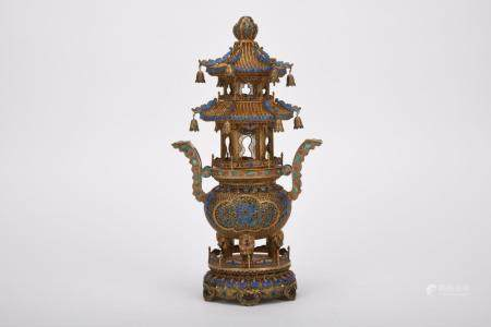 Chinese Qing Dynasty Silver Gold Gilded Incense Burner