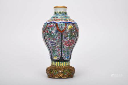 Chinese Qing Dynasty Famille Rose Porcelain Plum Bottle