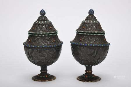 Chinese Pair Of Qing Dynasty Tea Pots Inlaid With Silver