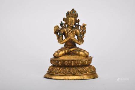 Chinese The 18Th Century Gold Gilded Manjusri Guanyin Statue