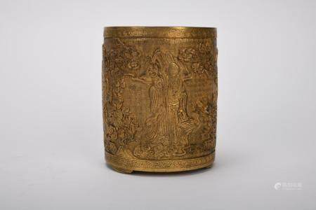 Chinese Qing Dynasty Bronze Gold Gilded Brush Pot