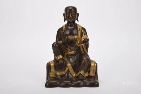 Chinese Qing Dynasty Bronze Gold Gilded Buddha
