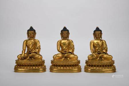 Chinese Ming Dynasty Bronze Gold Gilded Buddha