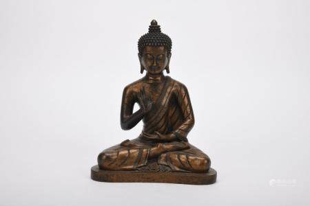 Chinese Qing Dynasty Bronze Guanyin Statue