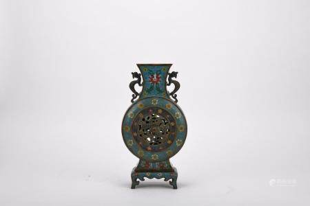 Chinese Qing Dynasty Cloisonne Dragon Pattern Bottle