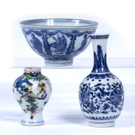 Collection of ceramics Chinese to include a blue and white transitional/Kangxi bowl 6cm high x