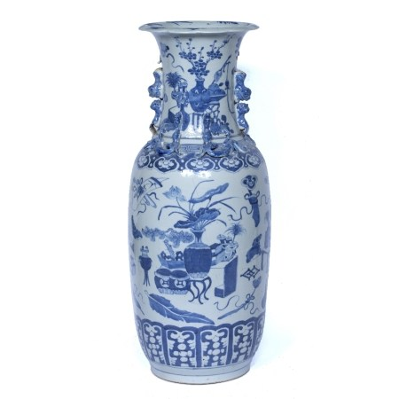 Canton blue and white porcelain vase Chinese, 19th Century decorated with 'antiques' and with ruyi
