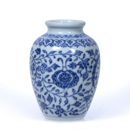 Blue and white vase Chinese, 19th Century of inverted baluster form, decorated with all over