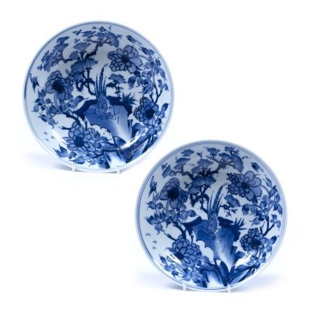 Pair of blue and white dishes Chinese, late 19th century decorated with pheasants standing on a