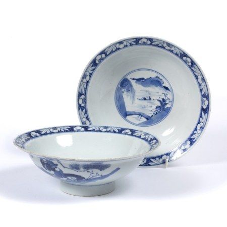 Pair of blue and white bowls Chinese, 19th Century of flared form, decorated to the centre depicting