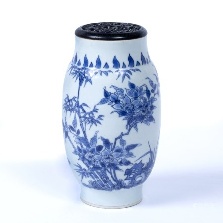 Blue and white porcelain ovoid vase Chinese, Transitional (1618-1683) painted with birds and bamboo,