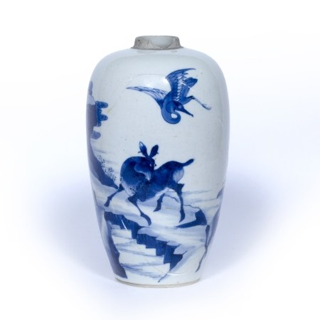 Blue and white jar Chinese, Kangxi (1662-1722) decorated with deer and birds against a mountainous