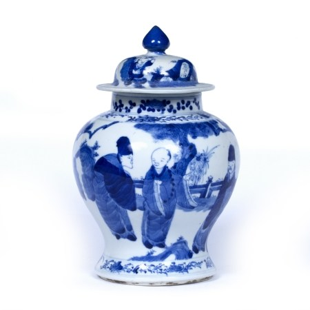 Blue and white baluster vase and cover Chinese, 19th Century decorated with scholars in a garden