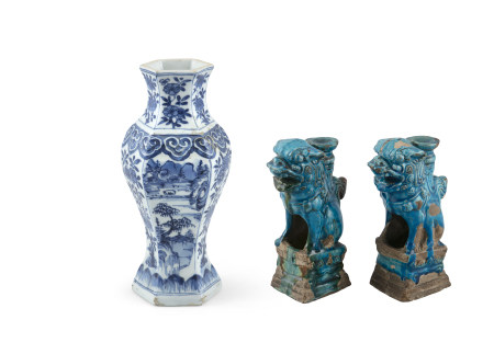 A CHINESE BLUE AND WHITE HEXAGONAL VASE, 18th century, of baluster shape, with panelled sides