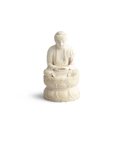 A FINE CHINESE CARVED IVORY FIGURE OF BUDDHA, 19th century, in seated position, in meditative