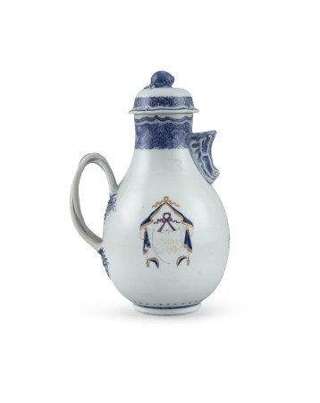 A CHINESE EXPORT ARMORIAL EWER AND COVER, c.1780, the baluster shaped body applied with entwined