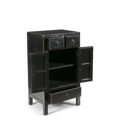 A CHINESE BLACK LACQUER COMMODE, of upright rectangular form, with two short drawers over a two-door