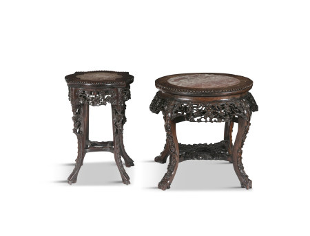 A CHINESE CARVED HARDWOOD AND ROUGE MARBLE JARDINIÈRE STAND, 19th century, of circular form, with
