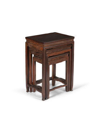 A CHINESE NEST OF HARDWOOD QUARTETTO TABLES, comprising of four rectangular tables, graduating in