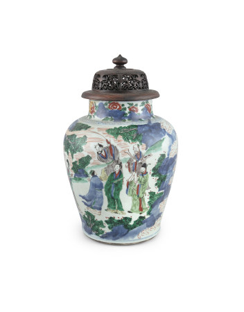 A LARGE CHINESE WUCAI ENAMEL VASE AND COVER, Transitional Period, mid-17th century decorated in