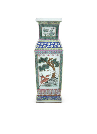 A CHINESE FAMILLE VERTE 'HU' VASE, 19th century of flattened rectangular shape, with flared rim,