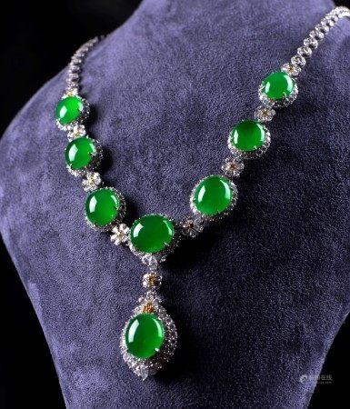 緬甸天然蛋面翡翠配鑽石項鏈