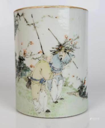 A Chinese Qianjiang Painted Porcelain Brush Pot, Signature o
