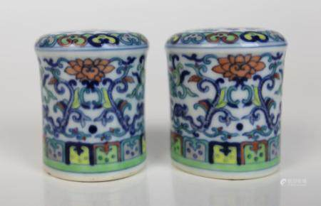 A Pair of Chinese Famille Verte Porcelain Scroll Ends, 18th/