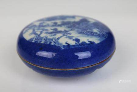 A Chinese Blue & White Porcelain Covered Box, Qing Dynasty,